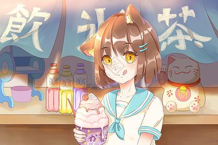 少女和刨冰冷饮店图片