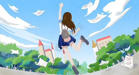 女孩考完开心毕业放学画面图片