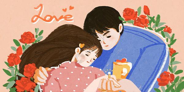 520情人节玫瑰情侣温馨插画图片