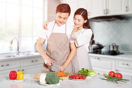 年轻夫妻做饭图片