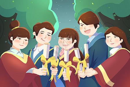 庆祝毕业典礼创意插画图片
