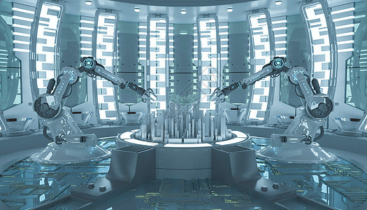 科幻机械手城市图片