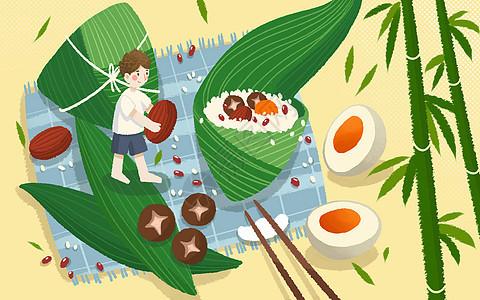 卡通端午节包粽子图片