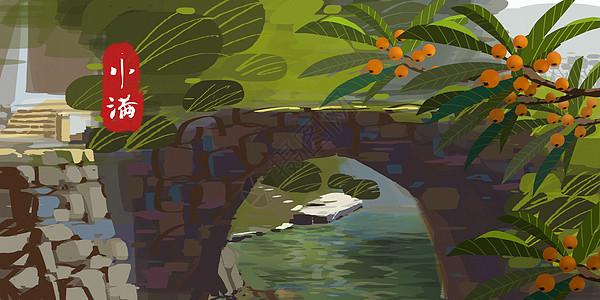 小满夏季小桥枇杷图片