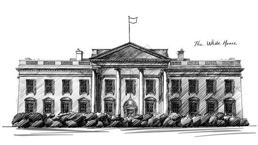 美国白宫建筑手绘图片