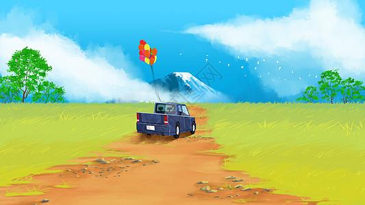 去旅行清新风景插画图片