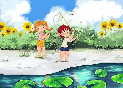 男孩女孩夏日荷花池边扑蝴蝶图片