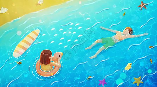 夏日海边戏水图片