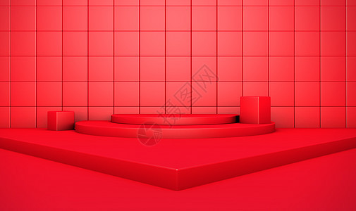 C4D红色大气场景图片