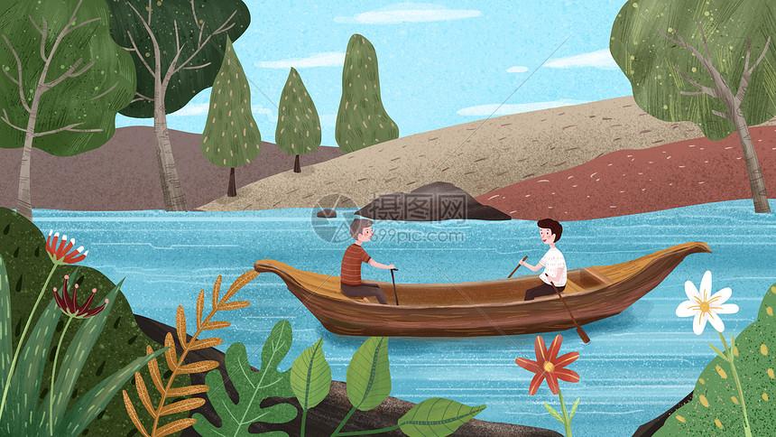 父亲节父子出游划船图片