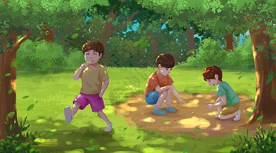 夏天树荫下玩弹珠的儿童图片