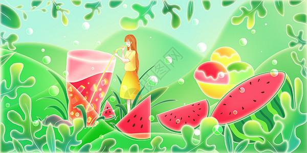 清凉夏日西瓜和冷饮图片