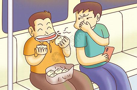 地铁里吃东西图片