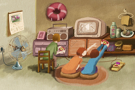 儿童节童年回忆打游戏机图片