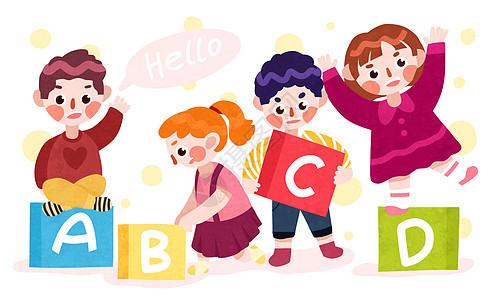 儿童与字母图片