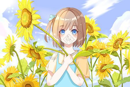 少女 阳光 向日葵图片