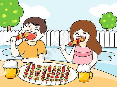 吃烧烤插画图片