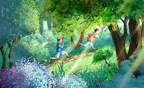夏天树林间奔跑的玩耍的儿童图片
