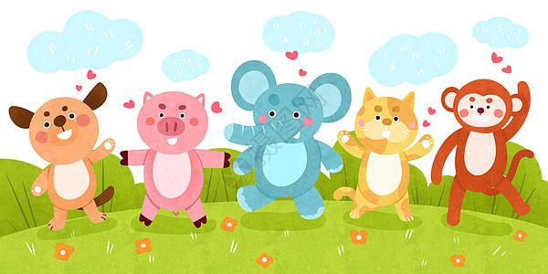 可爱动物儿童插画图片