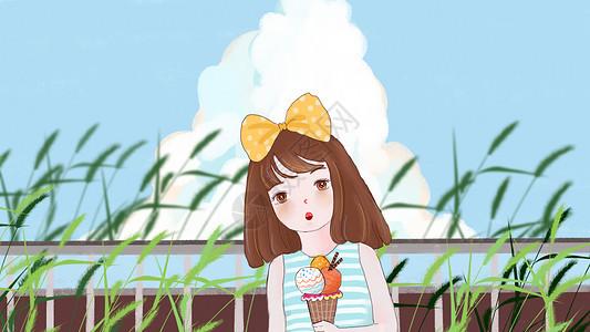 吃冰淇淋女孩图片