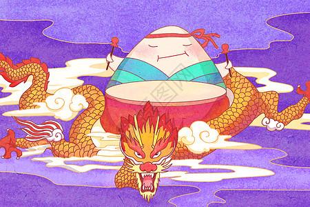 端午龙舟节插画图片