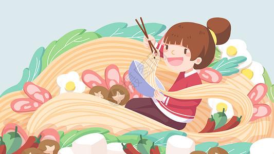 24节气夏至吃面小清新创意插画图片