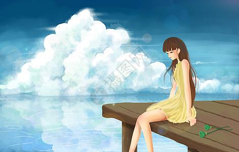 坐在岸边的女生图片
