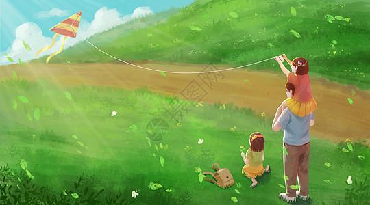 陪女儿放风筝的父亲图片