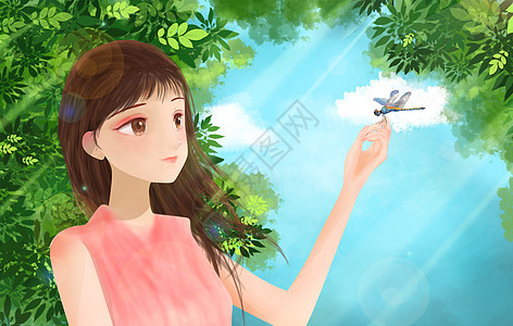 女生在树荫下看蜻蜓图片