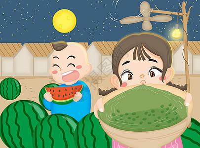 吃西瓜喝绿豆汤图片