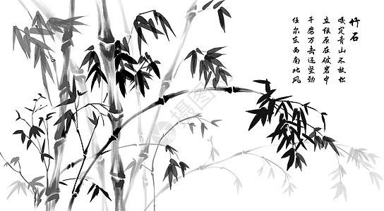 浓墨竹树图片