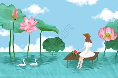 荷花池女孩插画图片
