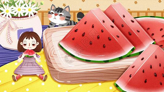 夏至节气夏天女孩吃西瓜插画图片