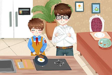 少年为父亲做早餐的温馨画面图片
