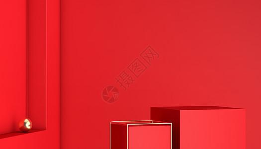 C4D红色展台背景图片
