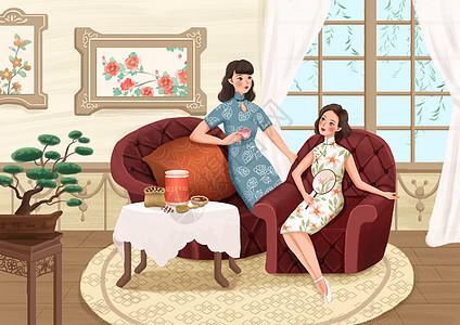 女性养生插画之红豆薏仁图片