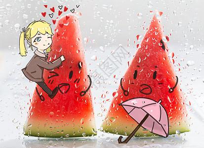 夏季西瓜创意漫画图片