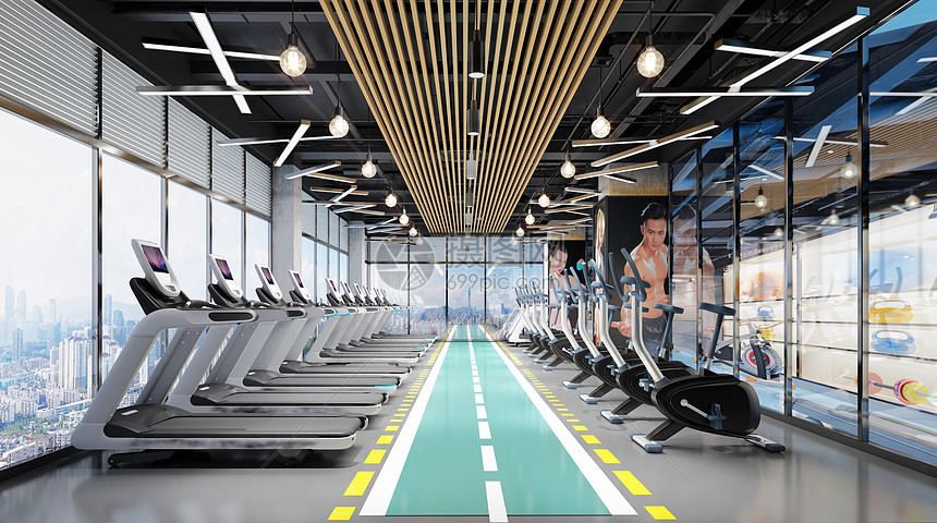 3d健身房场景图片