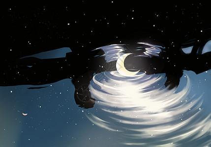 水中落月,星空银河图片