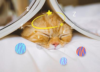 创意漫画可爱喵咪打瞌睡图片