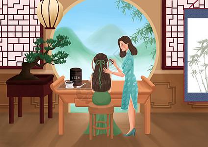 女性养生插画之黑芝麻粉图片