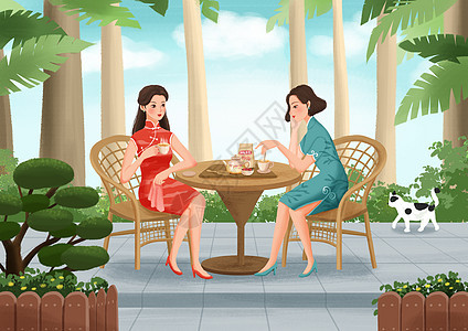 女性养生插画之花茶图片
