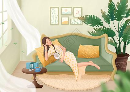 女性养生插画之安神茶图片