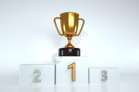 3d商务概念成功奖杯背景图片