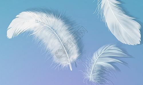 小清新白色羽毛背景图片