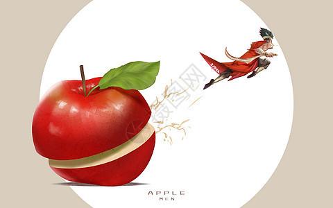 切苹果的男人图片
