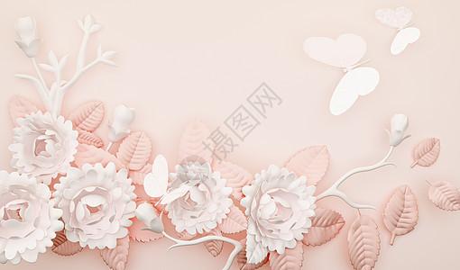 3d清新花语浮雕背景图片