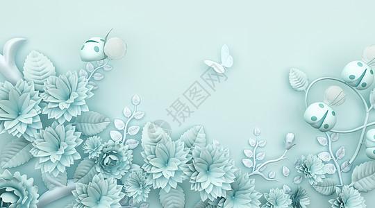 3d绿色小清新花语浮雕背景图片