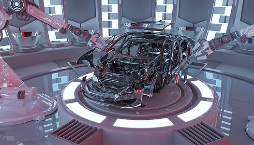 3d汽车生产线场景图片