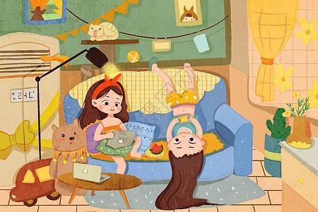 夏天宅在家玩耍的女孩图片